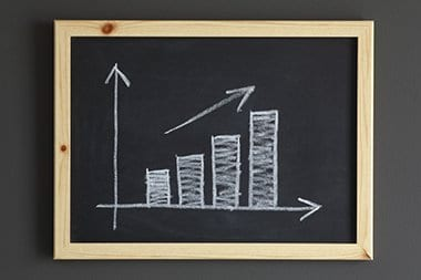 Business chart on a blackboard